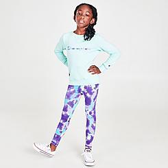 Girls' Little Kids' Champion Tie-Dye Crewneck Sweatshirt and Leggings Set
