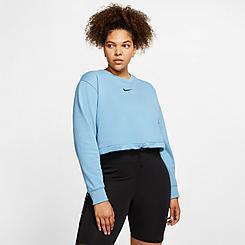 Women's Nike Sportswear Swoosh Crop Crew Sweatshirt (Plus Size)