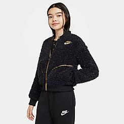 Girls' Nike Sportswear Shine Fleece Bomber Jacket