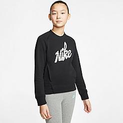 Girls' Nike Sportswear Graphic Logo Crewneck Sweatshirt