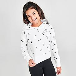Girls' Nike Sportswear Swooshfetti Cropped French Terry Pullover Hoodie