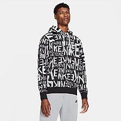 Men's Nike Sportswear Allover Hand-Drawn Logo Club Fleece Hoodie