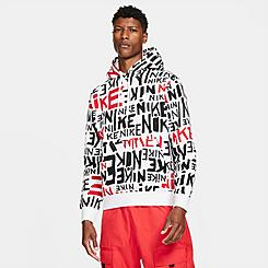 Men's Nike Sportswear Allover Hand-Drawn Logo Club Fleece Hoodie