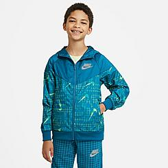 Kids' Nike Sportswear Allover Print Swoosh Windbreaker Jacket