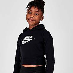 Girls' Nike Sportswear Zebra Infill Cropped Pullover Hoodie