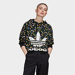 Women's adidas Originals Allover Print Large Logo Cropped Hoodie