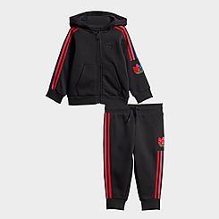 Boys' Infant adidas Originals Adicolor 3D Trefoil Full-Zip Hoodie and Jogger Pants Set