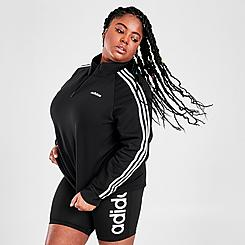 Women's adidas Essentials 3-Stripes Quarter-Zip Fleece Track Jacket (Plus Size)
