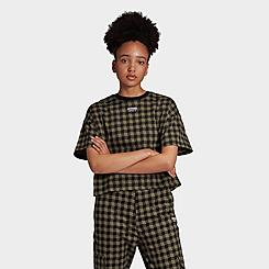 Women's adidas Originals R.Y.V. Plaid Crop T-Shirt
