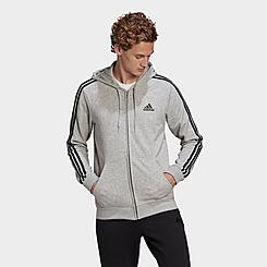 Men's adidas Essentials French Terry 3-Stripes Full Zip Hoodie
