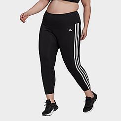 Women's adidas Athletics AEROREADY 3-Stripes Cropped Leggings (Plus Size)