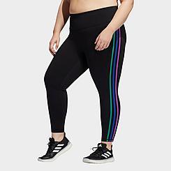 Women's adidas Pride Believe This 2.0 3-Stripes Cropped Training Leggings (Plus Size)