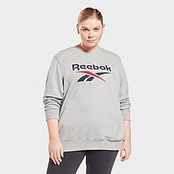 Women's Reebok Identity Logo French Terry Crewneck Sweatshirt (Plus Size)