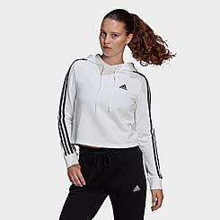 Women's adidas Essentials 3-Stripes Cropped Hoodie
