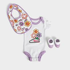 Girls' Infant Nike Floral Cortez 3-Piece Bib and Booties Box Set