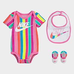 Girls' Infant Nike 3-Piece Bib and Booties Futura Stripe Box Set