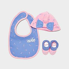 Girls' Infant Nike Swooshfetti 3-Piece Hat, Bootie and Bib Set