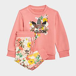 Girls' Infant and Toddler adidas Originals HER Studio London Floral Crewneck Sweatshirt and Jogger Pants Set