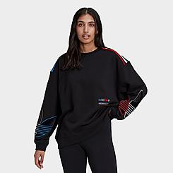 Women's adidas Originals Adicolor Tricolor Trefoil Velvet Sweatshirt
