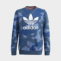 Kids' adidas Originals Allover Camo Print Crew Sweatshirt
