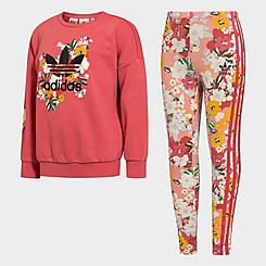 Girls' Toddler and Little Kids' adidas Originals HER Studio London Floral Crewneck Sweatshirt and Leggings Set