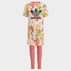 Girls' Toddler and Little Kids' adidas Originals HER Studio London Floral T-Shirt Dress and Leggings Set