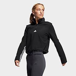 Women's adidas Fleece 3-Stripes Half-Zip Training Top