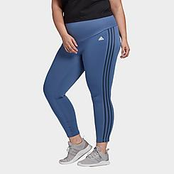 Women's adidas Designed 2 Move 3-Stripes High-Rise Cropped Training Tights (Plus Size)