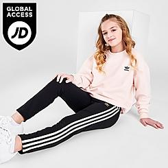 Girls' adidas Originals 3-Stripes Gleam Trefoil Logo Leggings