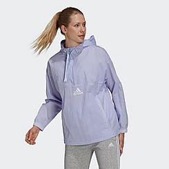 Women's adidas Essentials Brand Love Repeat Logo Half-Zip Windbreaker Jacket