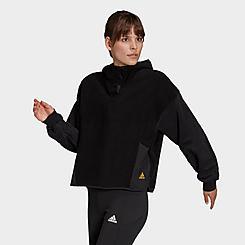 Women's adidas Essentials Golden Logo Sherpa Hoodie