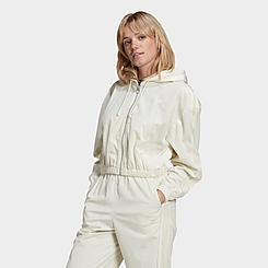 Women's adidas Originals Velvet Corduroy Full-Zip Hooded Track Jacket