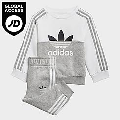 Infant and Kids' Toddler adidas Originals Sliced Trefoil Crewneck Sweatshirt and Jogger Pants Set