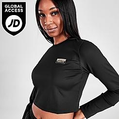 Women's adidas Originals Outline Ribbed Crop Long-Sleeve Shirt