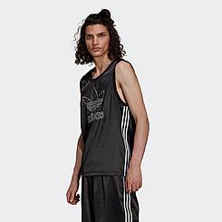 Men's adidas Originals Adicolor Trefoil 3 Stripes Satin Tank Top