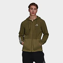 Men's adidas Essentials Polar Fleece Giant Logo Full-Zip Hoodie