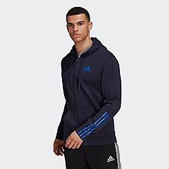 Men's adidas Essentials Doubleknit Cut 3-Stripes Full-Zip Hoodie