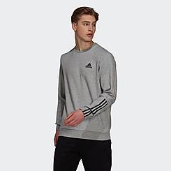 Men's adidas Essentials Matte-Cut 3-Stripes Creweck Sweatshirt