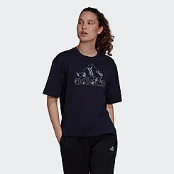 Women's adidas Soft Floral Logo Graphic T-Shirt