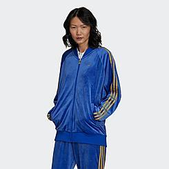 Women's adidas Originals Monogram Velvet 3-Stripes Track Jacket