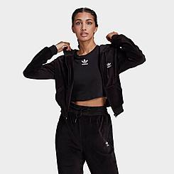 Women's adidas Originals Velour Crop Full-Zip Hoodie
