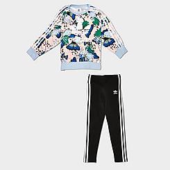 Girls' Little Kids' adidas Originals HER Studio London Floral Print Crewneck Sweatshirt and Leggings Set
