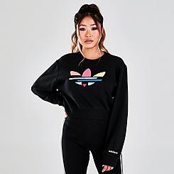 Women's adidas Originals Adicolor Shattered Trefoil Cropped Sweatshirt
