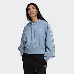 Women's adidas Originals Adicolor Classics Satin Taped Cropped Hoodie