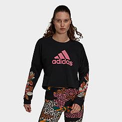 Women's adidas x FARM Rio Print Loose Cropped Logo Crewneck Sweatshirt