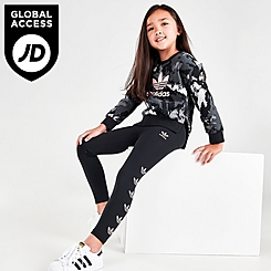 Girls' Little Kids' adidas Originals Tie-Dye Crewneck Sweatshirt and Leggings Set