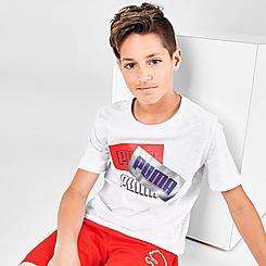 Boys' Puma Triple Logo Box Graphic T-Shirt