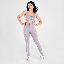 Women's Pink Soda Sport Lace Pipe Leggings