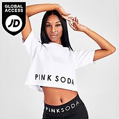 Women's Pink Soda Sport Micro Tape Crop T-Shirt