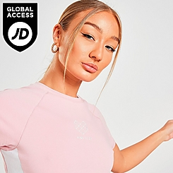 Women's Pink Soda Sport Ribbed Panel Cropped T-Shirt